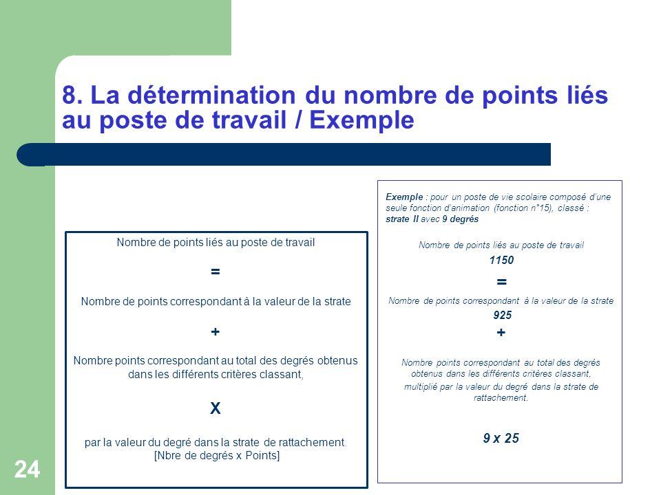 24 Nombre de points liés au poste de travail = Nombre de points correspondant à la valeur de la strate + Nombre points correspondant au total des degr