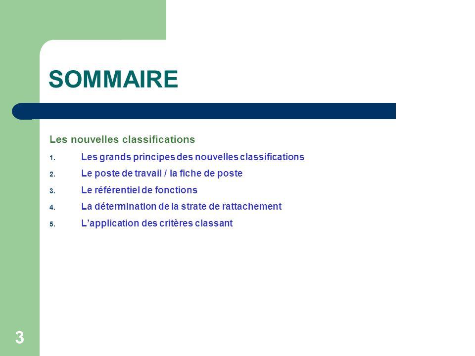 3 SOMMAIRE Les nouvelles classifications 1. Les grands principes des nouvelles classifications 2. Le poste de travail / la fiche de poste 3. Le référe