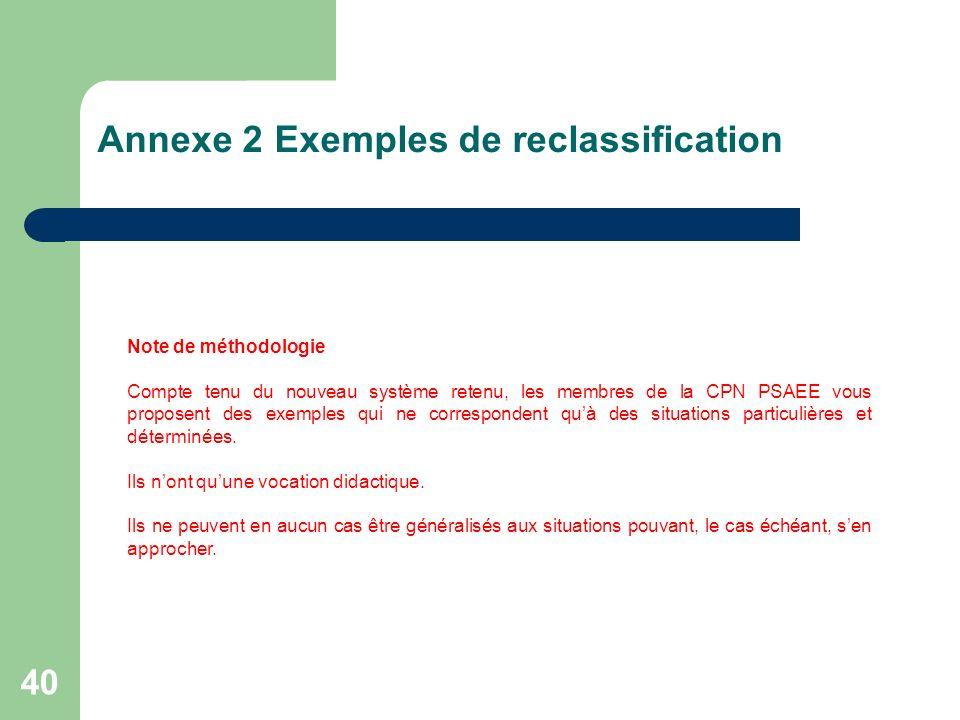 40 Annexe 2 Exemples de reclassification Note de méthodologie Compte tenu du nouveau système retenu, les membres de la CPN PSAEE vous proposent des ex
