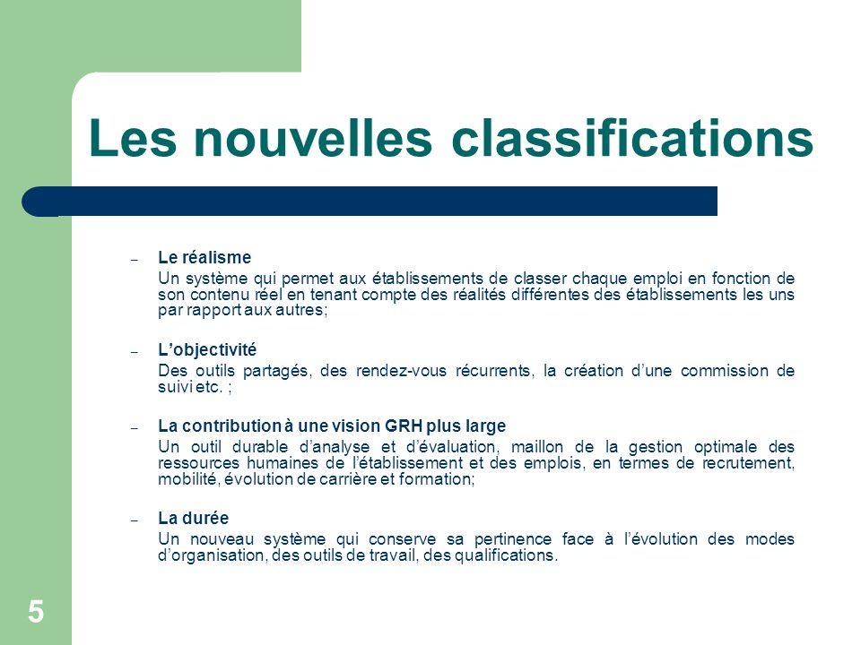 Les nouvelles classifications 5 – Le réalisme Un système qui permet aux établissements de classer chaque emploi en fonction de son contenu réel en ten