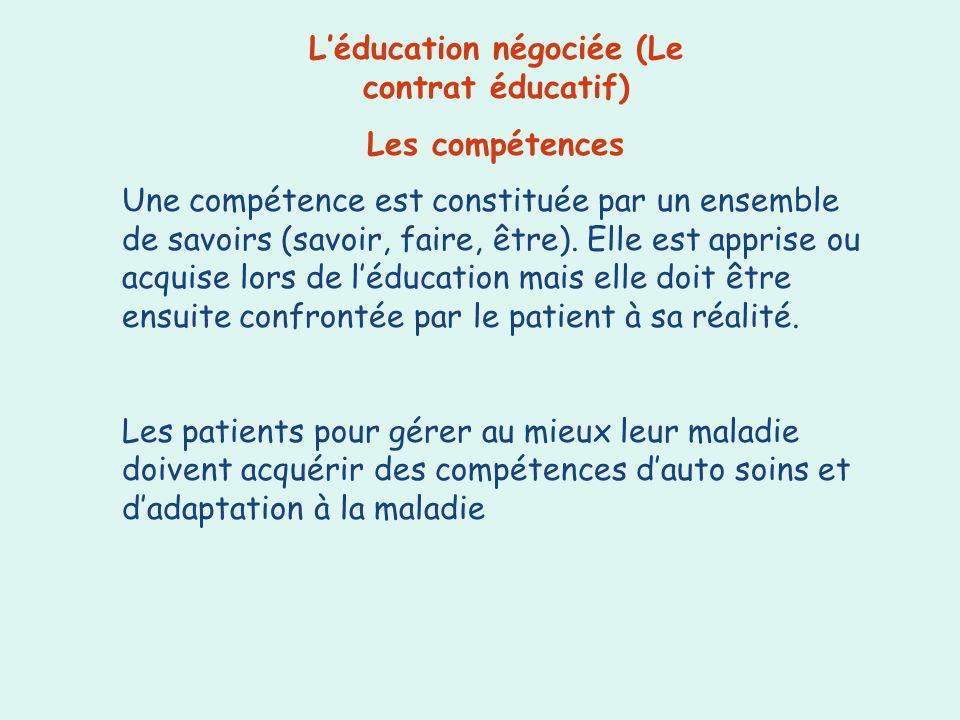 Léducation négociée (Le contrat éducatif) Les compétences Une compétence est constituée par un ensemble de savoirs (savoir, faire, être). Elle est app