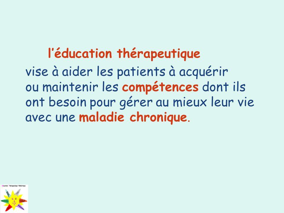 léducation thérapeutique vise à aider les patients à acquérir ou maintenir les compétences dont ils ont besoin pour gérer au mieux leur vie avec une m