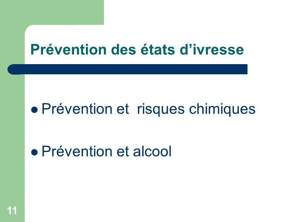 11 Prévention des états divresse Prévention et risques chimiques Prévention et alcool