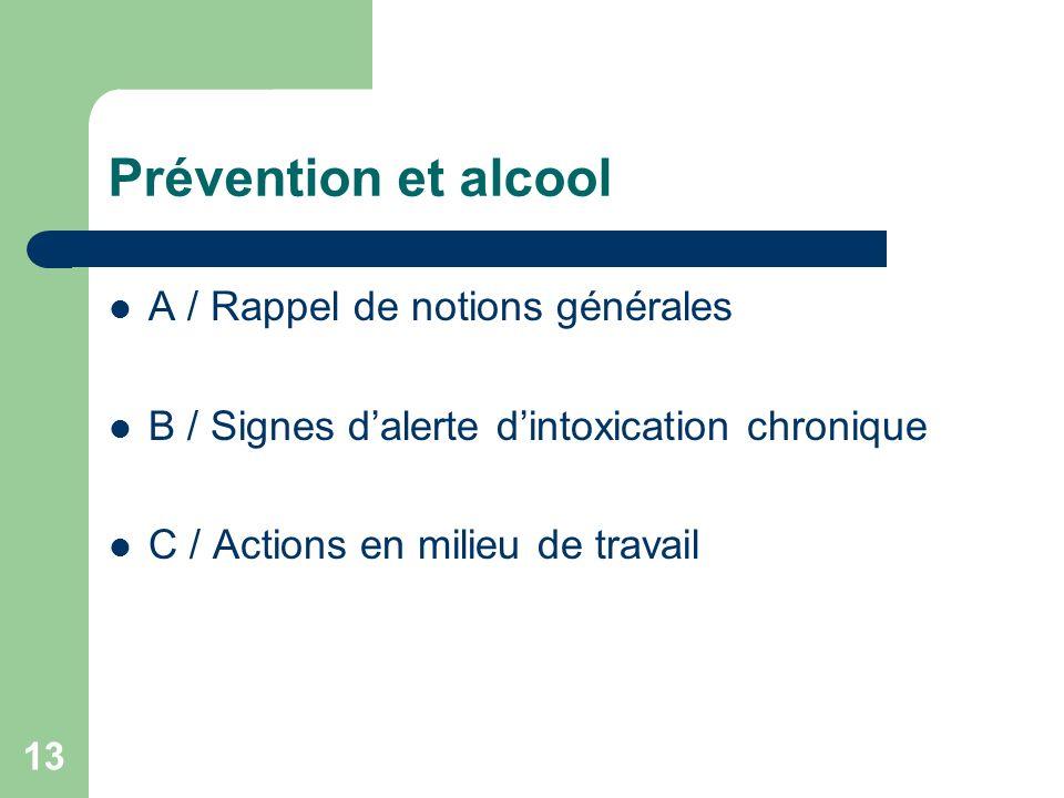 13 Prévention et alcool A / Rappel de notions générales B / Signes dalerte dintoxication chronique C / Actions en milieu de travail