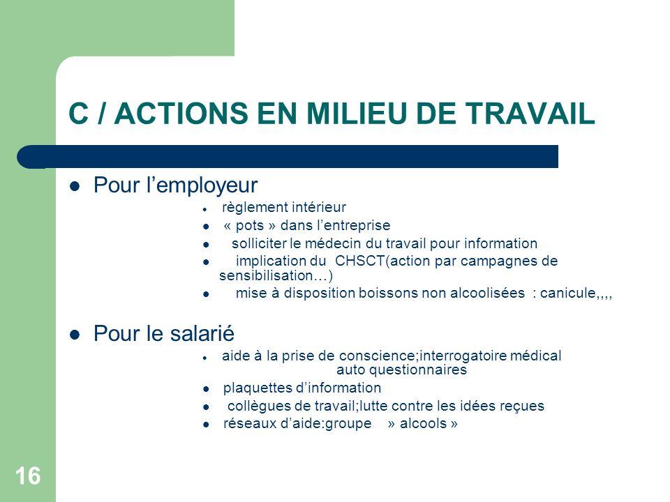 16 C / ACTIONS EN MILIEU DE TRAVAIL Pour lemployeur règlement intérieur « pots » dans lentreprise solliciter le médecin du travail pour information im