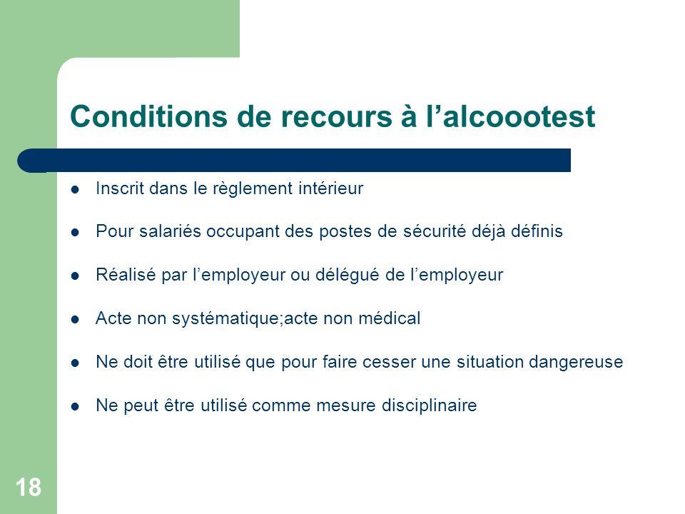 18 Conditions de recours à lalcoootest Inscrit dans le règlement intérieur Pour salariés occupant des postes de sécurité déjà définis Réalisé par lemp