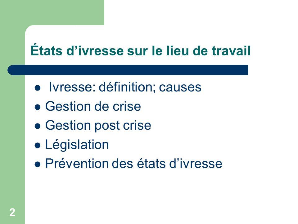 2 Ivresse: définition; causes Gestion de crise Gestion post crise Législation Prévention des états divresse
