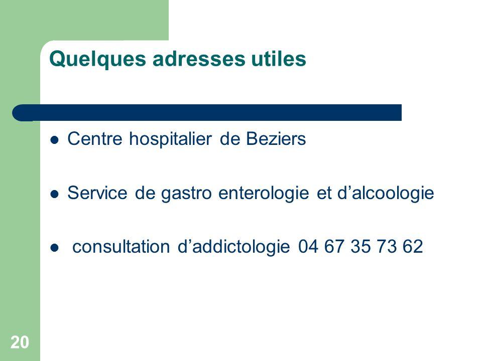 20 Quelques adresses utiles Centre hospitalier de Beziers Service de gastro enterologie et dalcoologie consultation daddictologie 04 67 35 73 62