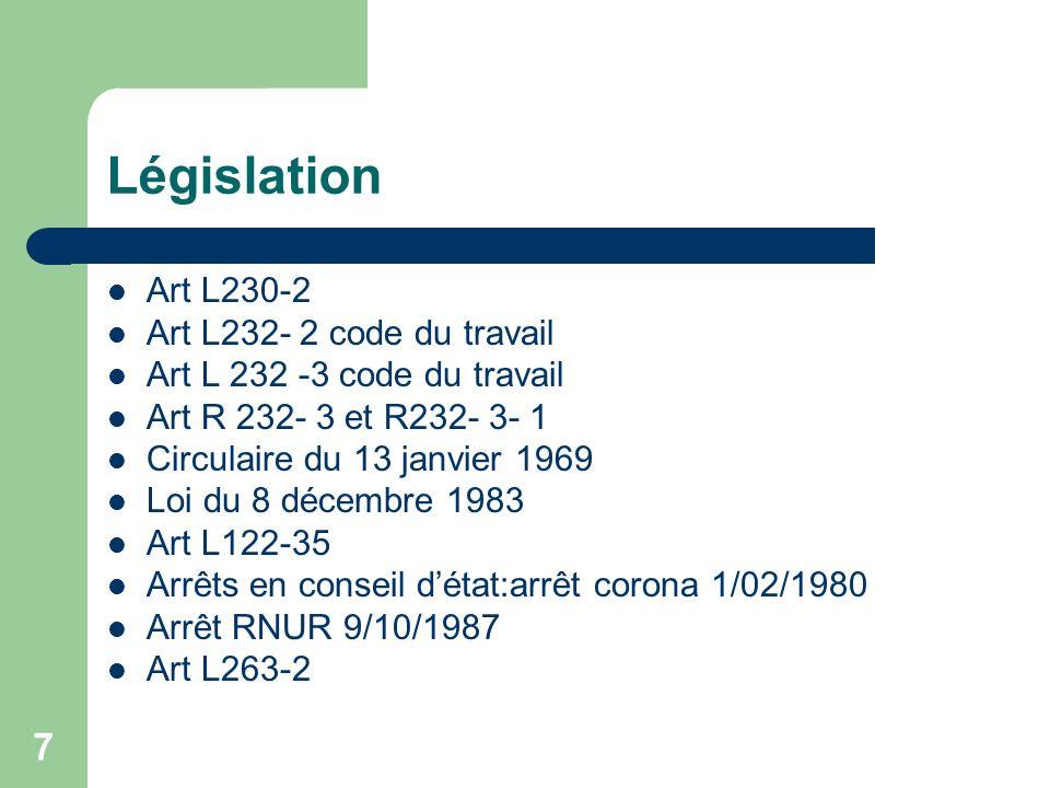 7 Législation Art L230-2 Art L232- 2 code du travail Art L 232 -3 code du travail Art R 232- 3 et R232- 3- 1 Circulaire du 13 janvier 1969 Loi du 8 dé