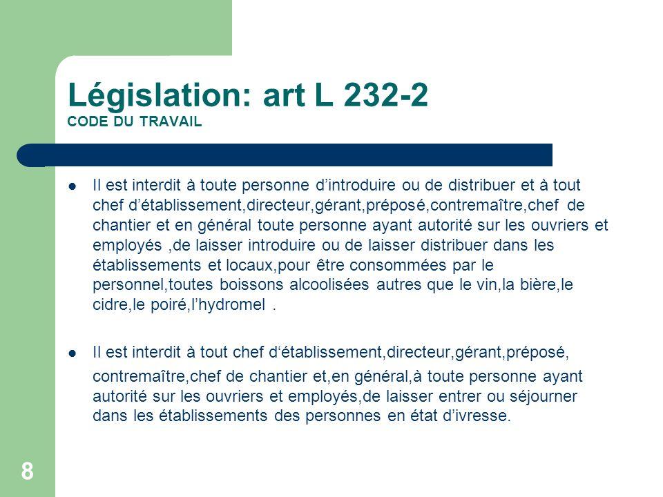9 législation Art L230-2 précise que pour assurer la sécurité et protéger la santé des travailleurs,les employeurs doivent organiser des actions de prévention des risques professionnels,dinformation et de formation Art R232-3 et 3-1prevoit la mise à disposition des travailleurs de leau potable et fraîche;lemployeur est tenu de mettre gratuitement à leur disposition au moins une boisson non alcoolisée Circulaire du 13/01/1969recommandations et rôle du règlement intérieur,donne le cadre de consommation dans lentreprise,limitation aux heures des repas en dehors des horaires de travail Loi du 8/12/1983:le contrôle de létat alcoolique dans les établissements …est fixer par le règlement intérieur