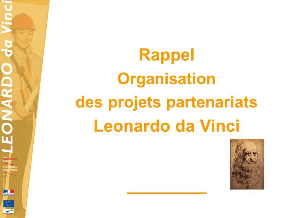Rappel Organisation des projets partenariats Leonardo da Vinci _________