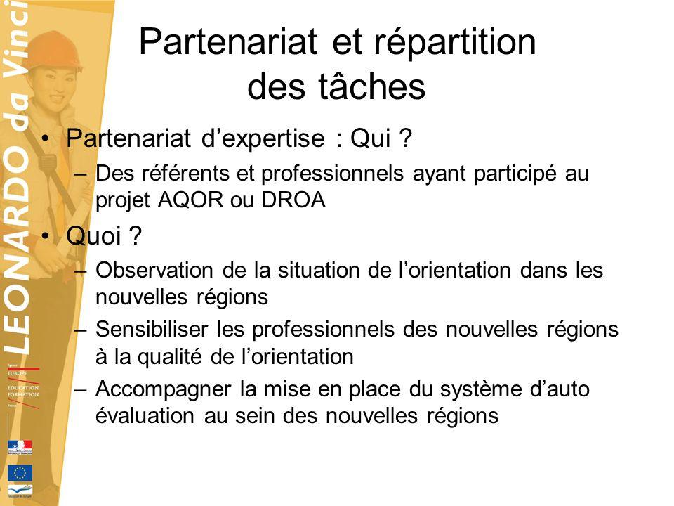 Partenariat et répartition des tâches Partenariat dexpertise : Qui ? –Des référents et professionnels ayant participé au projet AQOR ou DROA Quoi ? –O