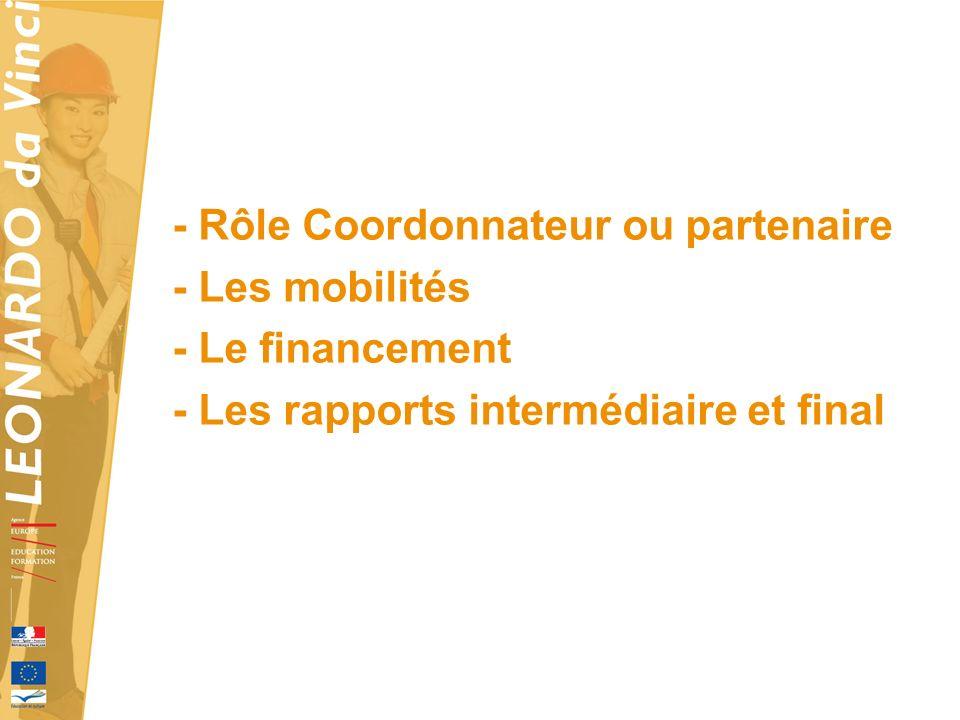 - Rôle Coordonnateur ou partenaire - Les mobilités - Le financement - Les rapports intermédiaire et final