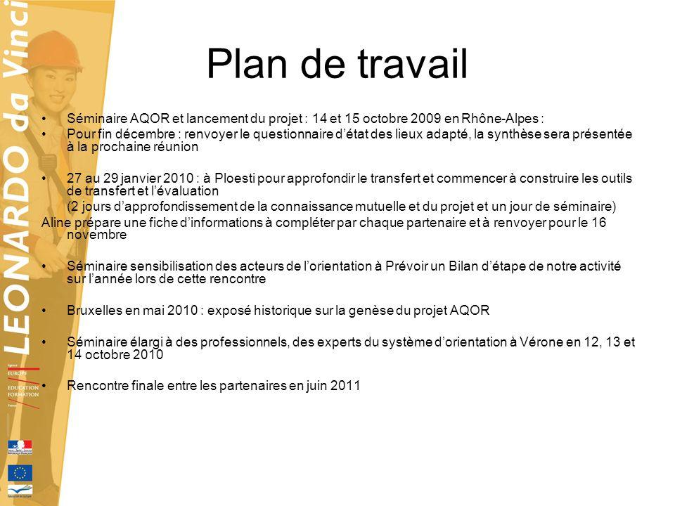Plan de travail Séminaire AQOR et lancement du projet : 14 et 15 octobre 2009 en Rhône-Alpes : Pour fin décembre : renvoyer le questionnaire détat des