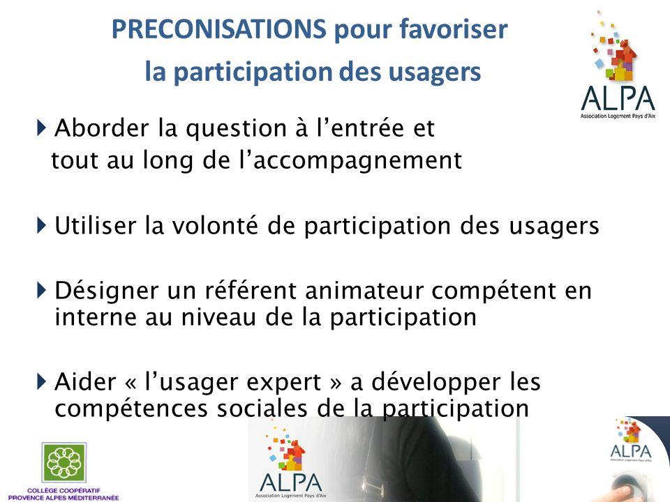 PRECONISATIONS pour favoriser la participation des usagers Aborder la question à lentrée et tout au long de laccompagnement Utiliser la volonté de par