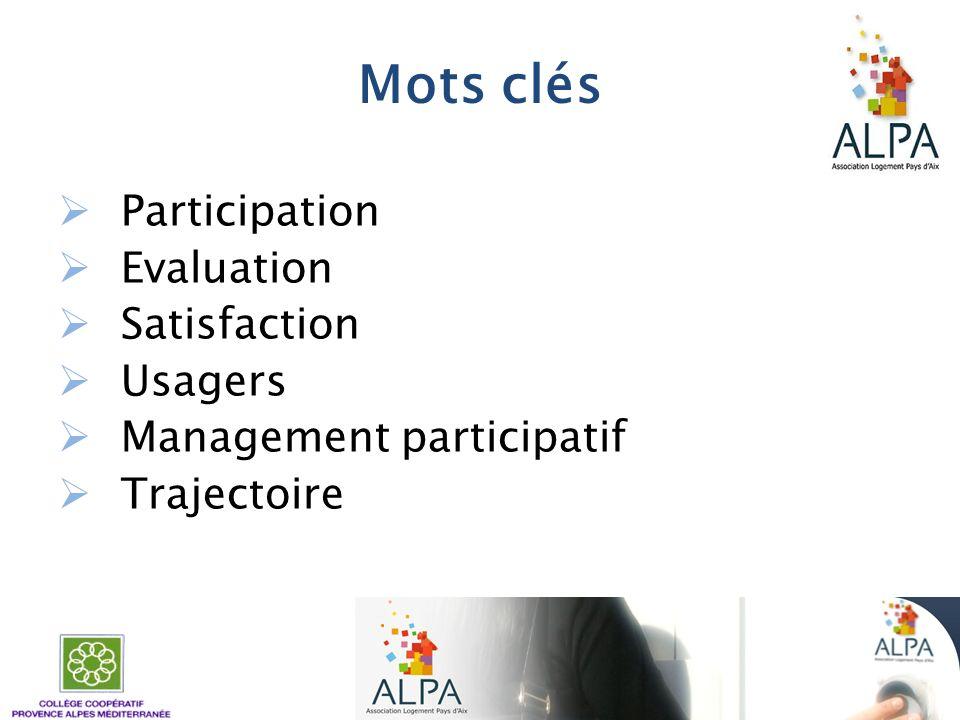 Mots clés Participation Evaluation Satisfaction Usagers Management participatif Trajectoire