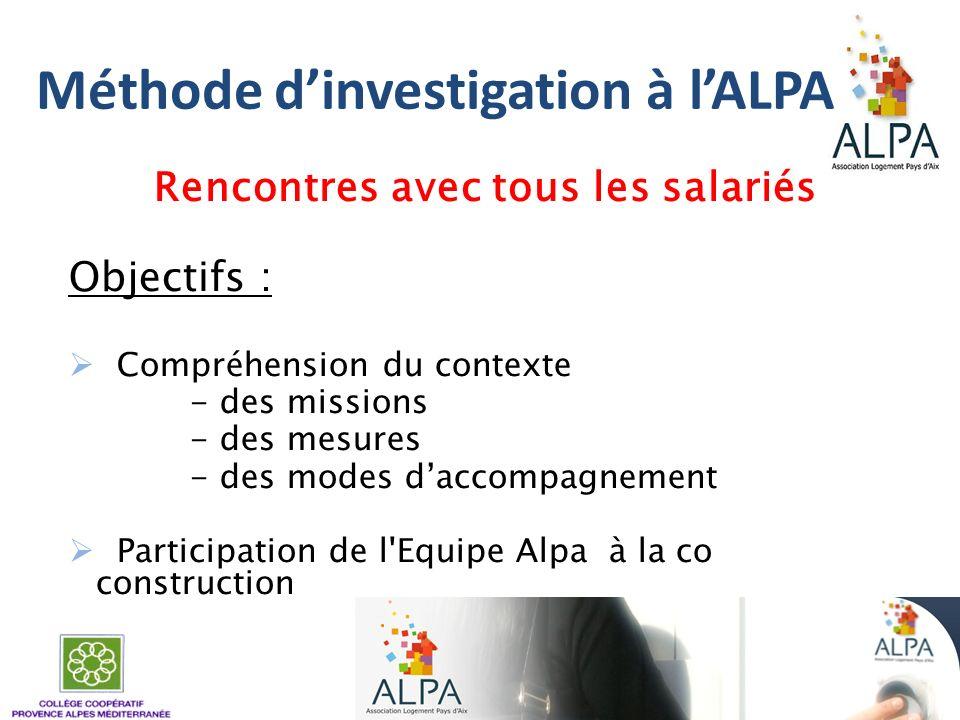 Méthode dinvestigation à lALPA Rencontres avec tous les salariés Objectifs : Compréhension du contexte - des missions - des mesures - des modes daccom