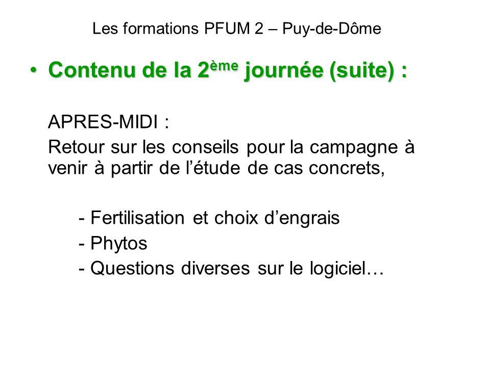 Les formations PFUM 2 – Puy-de-Dôme Contenu de la 2 ème journée (suite) :Contenu de la 2 ème journée (suite) : APRES-MIDI : Retour sur les conseils po