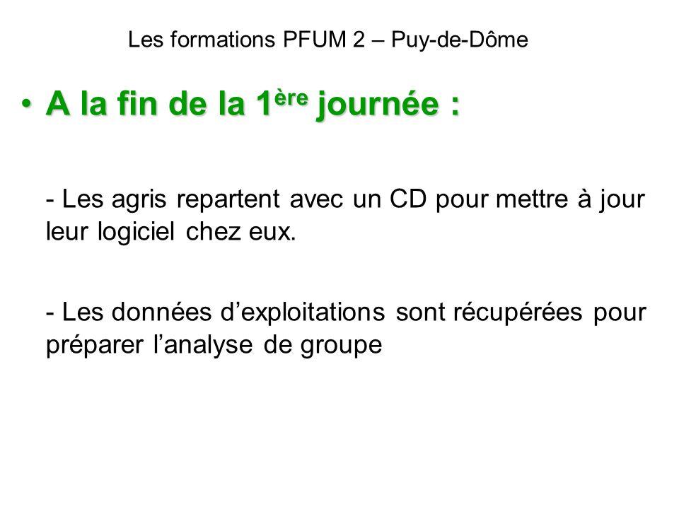 Les formations PFUM 2 – Puy-de-Dôme A la fin de la 1 ère journée :A la fin de la 1 ère journée : - Les agris repartent avec un CD pour mettre à jour l