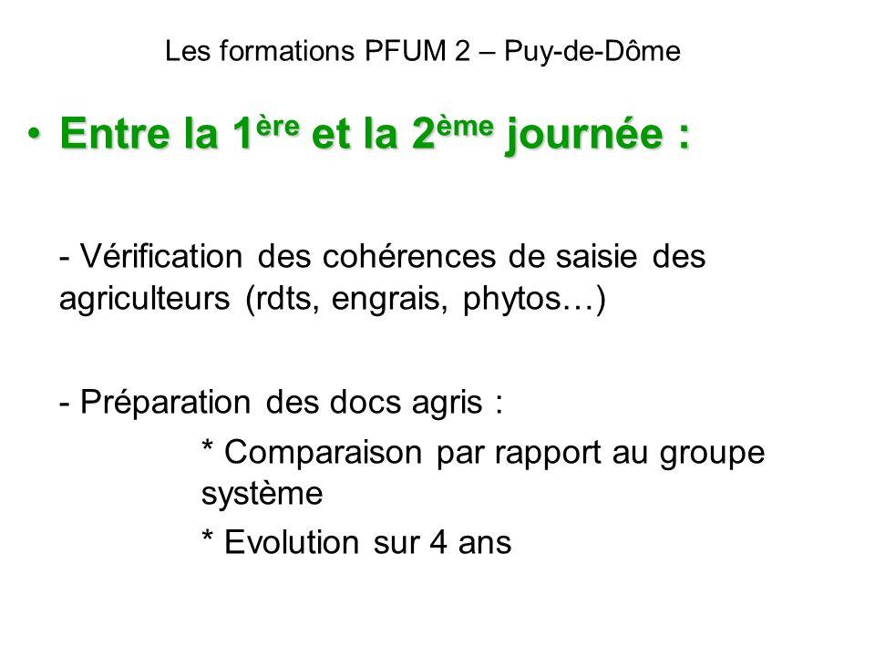 Les formations PFUM 2 – Puy-de-Dôme Entre la 1 ère et la 2 ème journée :Entre la 1 ère et la 2 ème journée : - Vérification des cohérences de saisie d