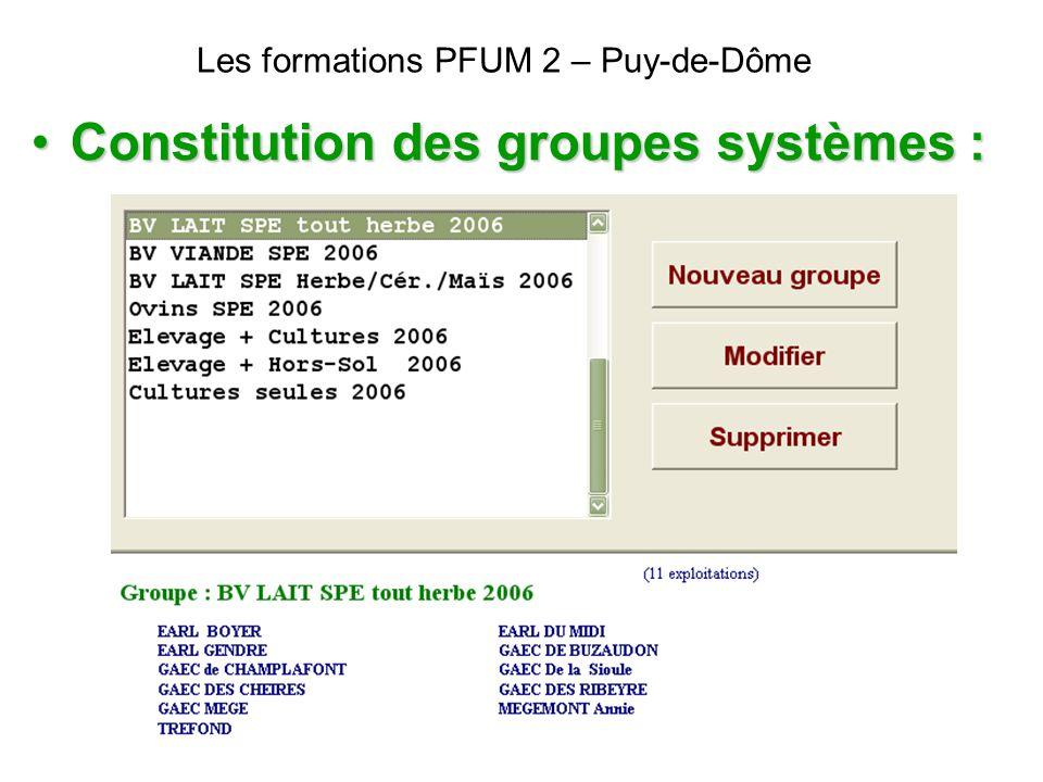 Les formations PFUM 2 – Puy-de-Dôme Constitution des groupes systèmes :Constitution des groupes systèmes :