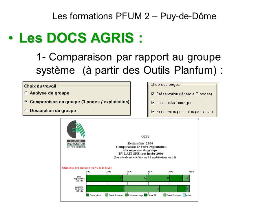 Les formations PFUM 2 – Puy-de-Dôme Les DOCS AGRIS :Les DOCS AGRIS : 1- Comparaison par rapport au groupe système (à partir des Outils Planfum) :