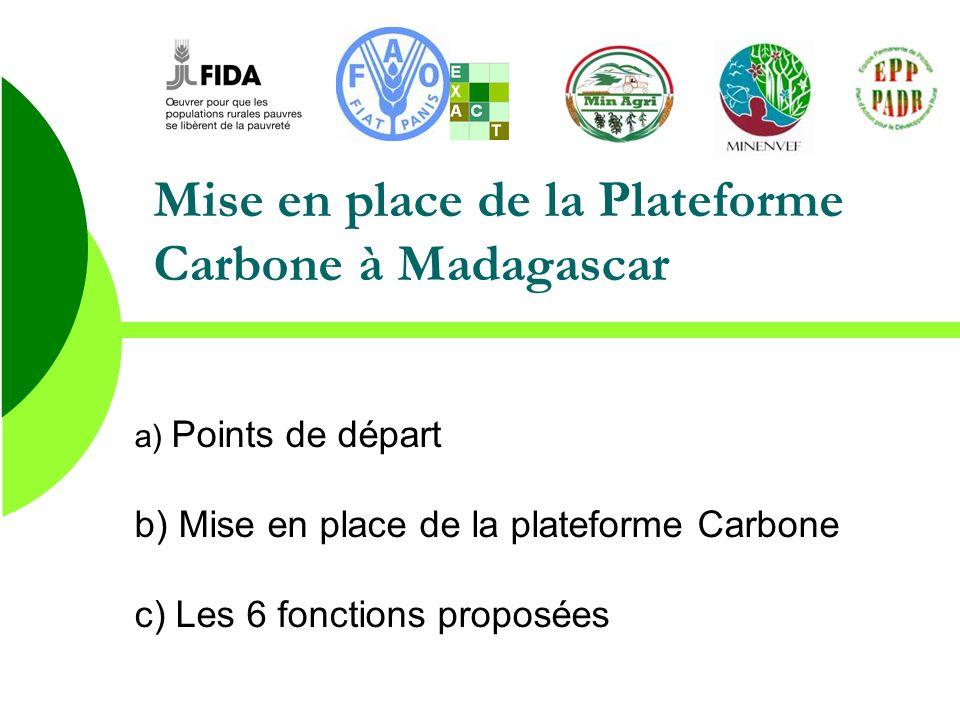 Mise en place de la Plateforme Carbone à Madagascar a) Points de départ b) Mise en place de la plateforme Carbone c) Les 6 fonctions proposées
