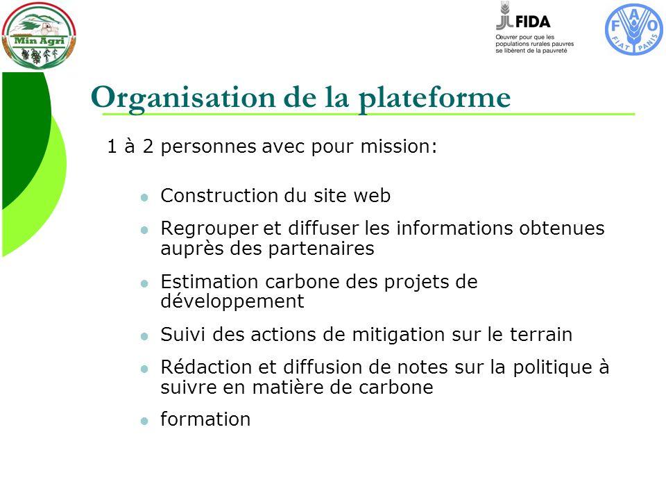 Organisation de la plateforme 1 à 2 personnes avec pour mission: Construction du site web Regrouper et diffuser les informations obtenues auprès des partenaires Estimation carbone des projets de développement Suivi des actions de mitigation sur le terrain Rédaction et diffusion de notes sur la politique à suivre en matière de carbone formation