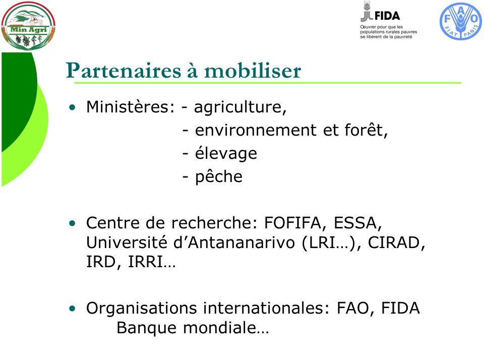 Partenaires à mobiliser Ministères: - agriculture, - environnement et forêt, - élevage - pêche Centre de recherche: FOFIFA, ESSA, Université dAntananarivo (LRI…), CIRAD, IRD, IRRI… Organisations internationales: FAO, FIDA Banque mondiale…