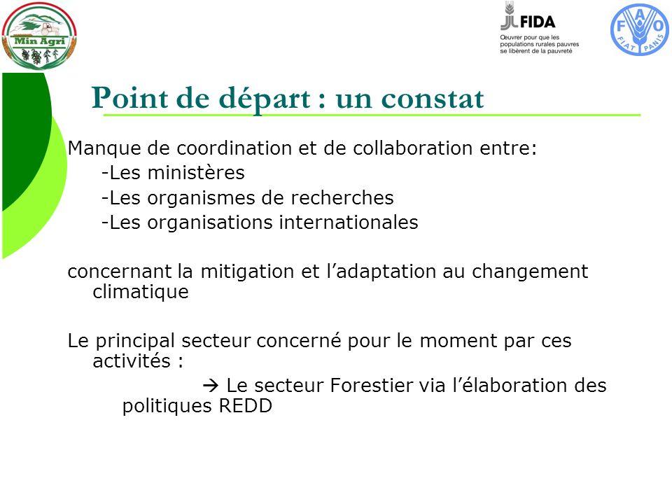 Point de départ : un constat Manque de coordination et de collaboration entre: -Les ministères -Les organismes de recherches -Les organisations internationales concernant la mitigation et ladaptation au changement climatique Le principal secteur concerné pour le moment par ces activités : Le secteur Forestier via lélaboration des politiques REDD