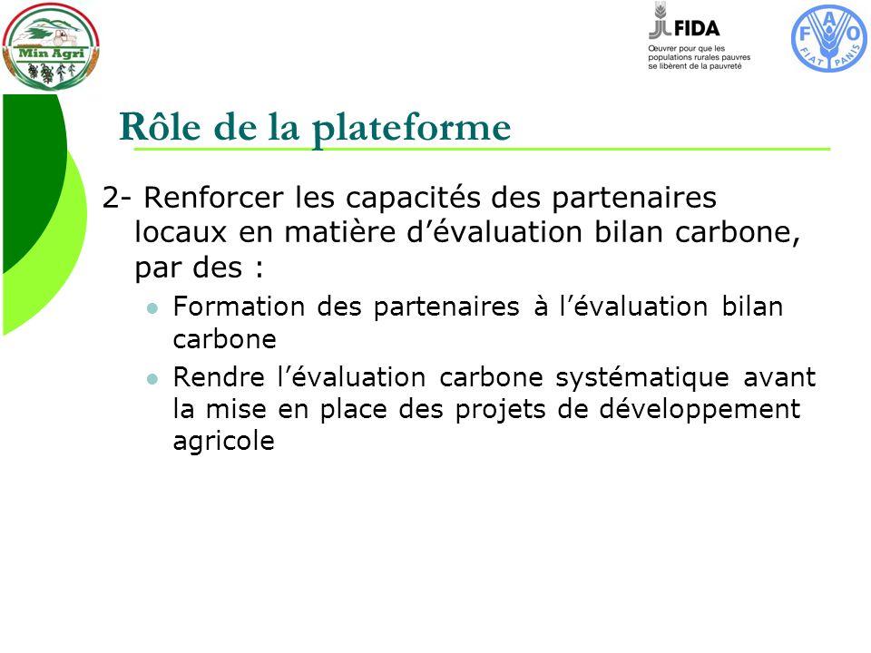 Rôle de la plateforme 2- Renforcer les capacités des partenaires locaux en matière dévaluation bilan carbone, par des : Formation des partenaires à lévaluation bilan carbone Rendre lévaluation carbone systématique avant la mise en place des projets de développement agricole