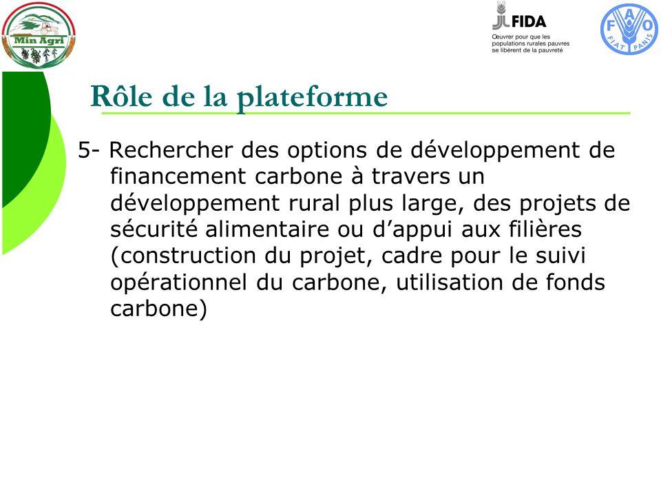 Rôle de la plateforme 5- Rechercher des options de développement de financement carbone à travers un développement rural plus large, des projets de sécurité alimentaire ou dappui aux filières (construction du projet, cadre pour le suivi opérationnel du carbone, utilisation de fonds carbone)