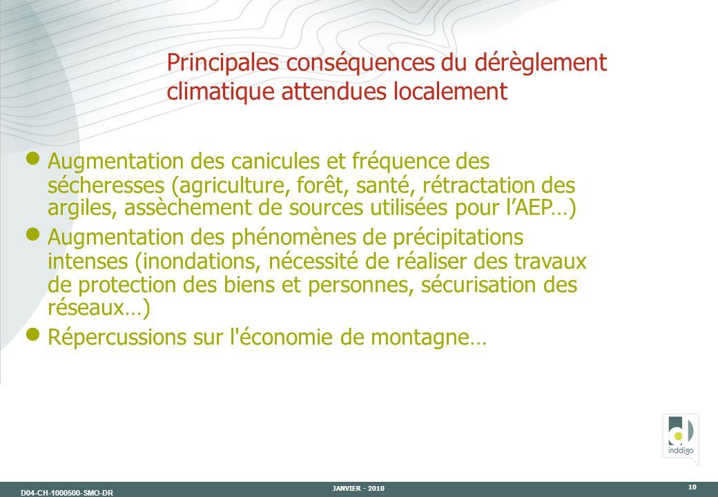 D04-CH-1000500-SMO-DR JANVIER - 2010 10 Principales conséquences du dérèglement climatique attendues localement Augmentation des canicules et fréquenc
