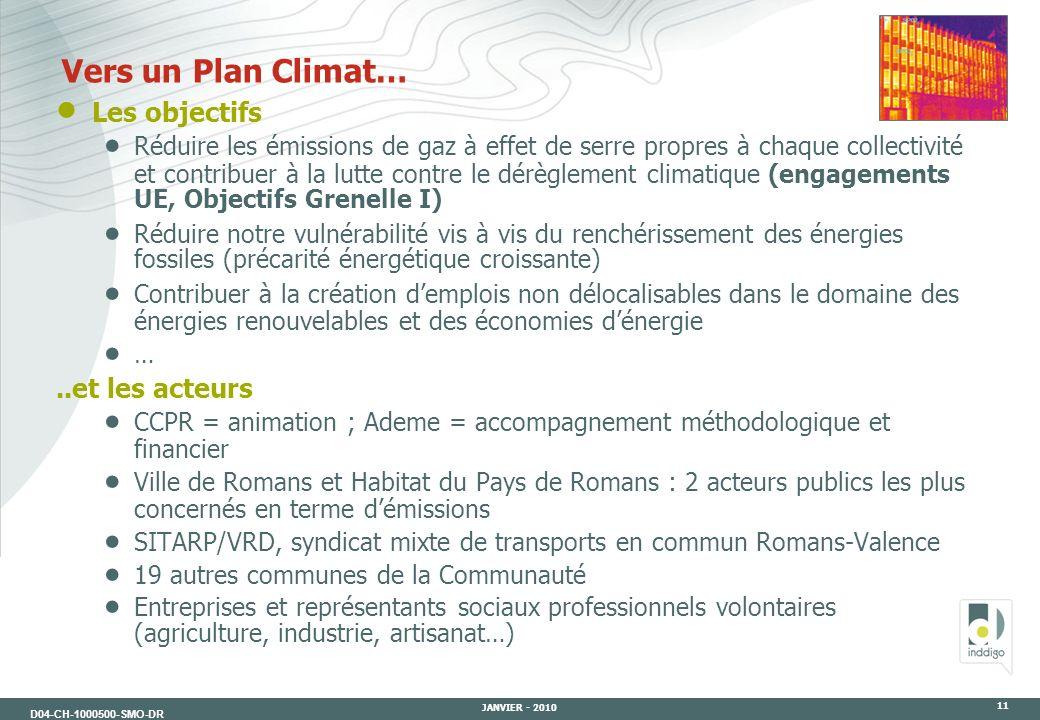 D04-CH-1000500-SMO-DR JANVIER - 2010 11 Les objectifs Réduire les émissions de gaz à effet de serre propres à chaque collectivité et contribuer à la l