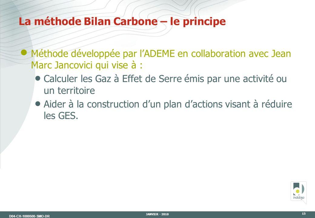 D04-CH-1000500-SMO-DR JANVIER - 2010 15 La méthode Bilan Carbone – le principe Méthode développée par lADEME en collaboration avec Jean Marc Jancovici