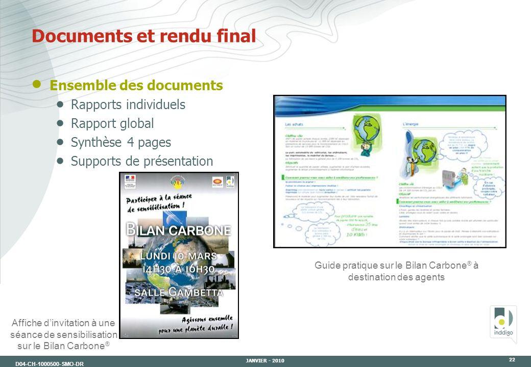D04-CH-1000500-SMO-DR JANVIER - 2010 22 Ensemble des documents Rapports individuels Rapport global Synthèse 4 pages Supports de présentation Documents