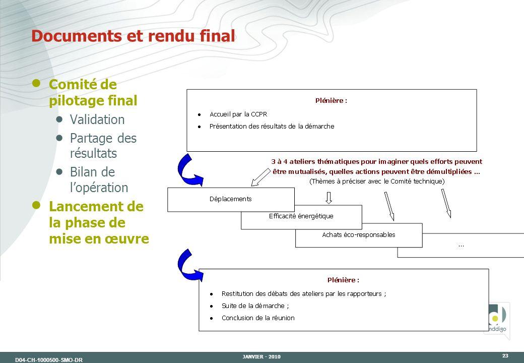 D04-CH-1000500-SMO-DR JANVIER - 2010 23 Comité de pilotage final Validation Partage des résultats Bilan de lopération Lancement de la phase de mise en