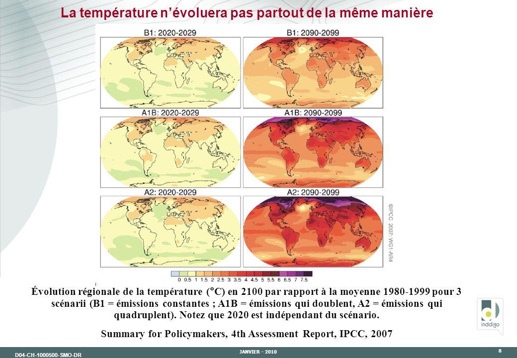 D04-CH-1000500-SMO-DR JANVIER - 2010 8 La température névoluera pas partout de la même manière Évolution régionale de la température (°C) en 2100 par