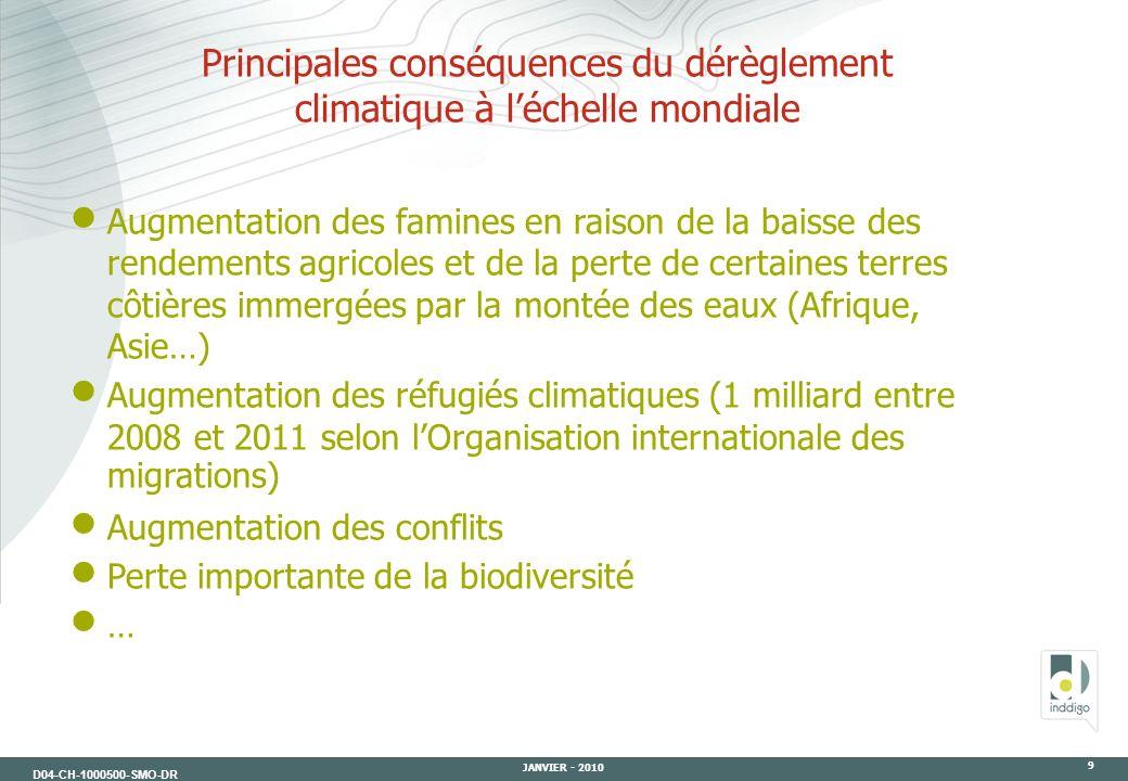 D04-CH-1000500-SMO-DR JANVIER - 2010 9 Principales conséquences du dérèglement climatique à léchelle mondiale Augmentation des famines en raison de la