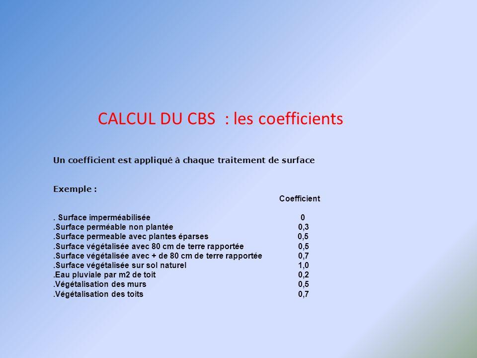 CALCUL DU CBS : exemple Surface du terrain479 m² Surface bâtie279 m² 200 m² coefficient doccupation 0,59 Calcul du CBS 140 m² Asphaltex 0,0 = 0 m² 59 m² surface semi ouvertex 0,5 = 30 m² 1 m² sol végétaliséx 1,0 = 1 m² CBS 31 = 0,06 OR 0,3 sont demandés 479