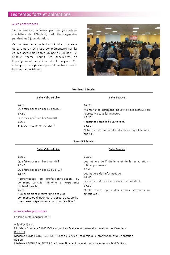 Les temps forts et animations Les visites politiques Le salon a été inauguré par : Ville dOrléans : Monsieur Soufiane SANKHON – Adjoint au Maire – Jeunesse et Animation des Quartiers Rectorat : Madame Sylvie HAUCHECORNE – Chef du Service Académique dInformation et dOrientation Région : Madame LEVEULEUX TEIXEIRA – Conseillère régionale et municipale de la ville dOrléans Vendredi 3 février Salle Val-de-Loire 14:30 Que faire après un bac ES et STG .