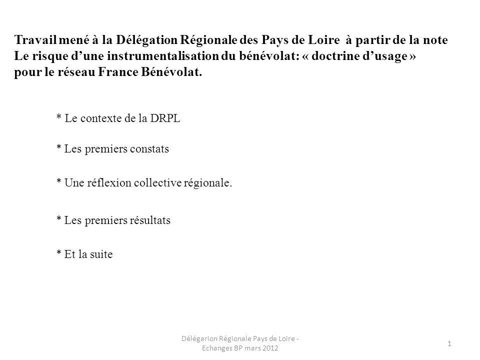 Travail mené à la Délégation Régionale des Pays de Loire à partir de la note Le risque dune instrumentalisation du bénévolat: « doctrine dusage » pour