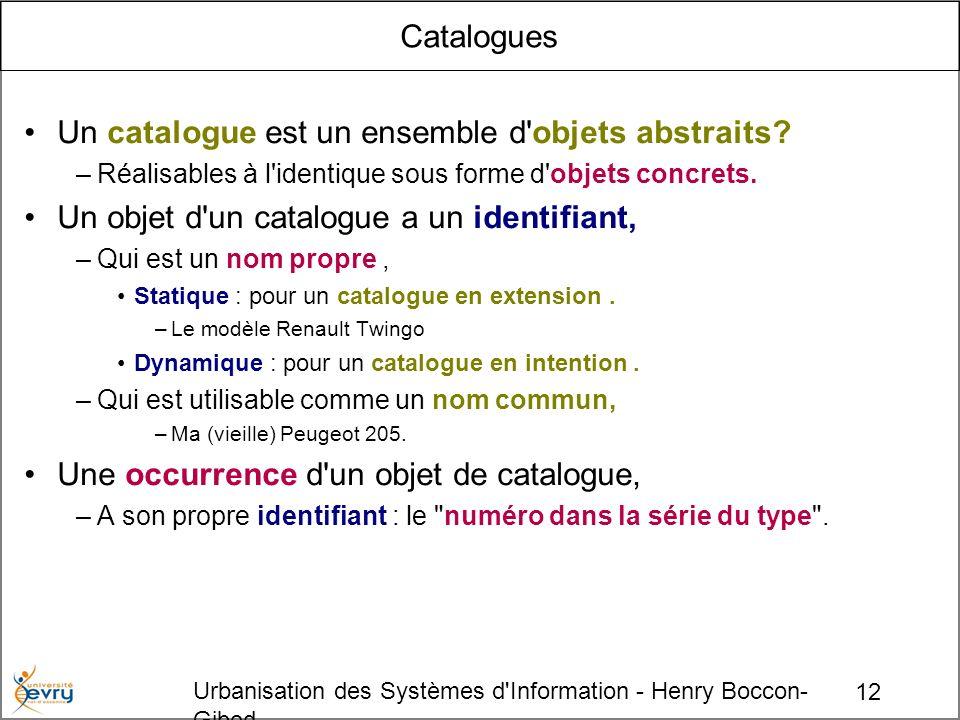12 Urbanisation des Systèmes d'Information - Henry Boccon- Gibod Catalogues Un catalogue est un ensemble d'objets abstraits? –Réalisables à l'identiqu