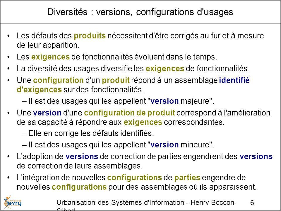 6 Urbanisation des Systèmes d'Information - Henry Boccon- Gibod Diversités : versions, configurations d'usages Les défauts des produits nécessitent d'