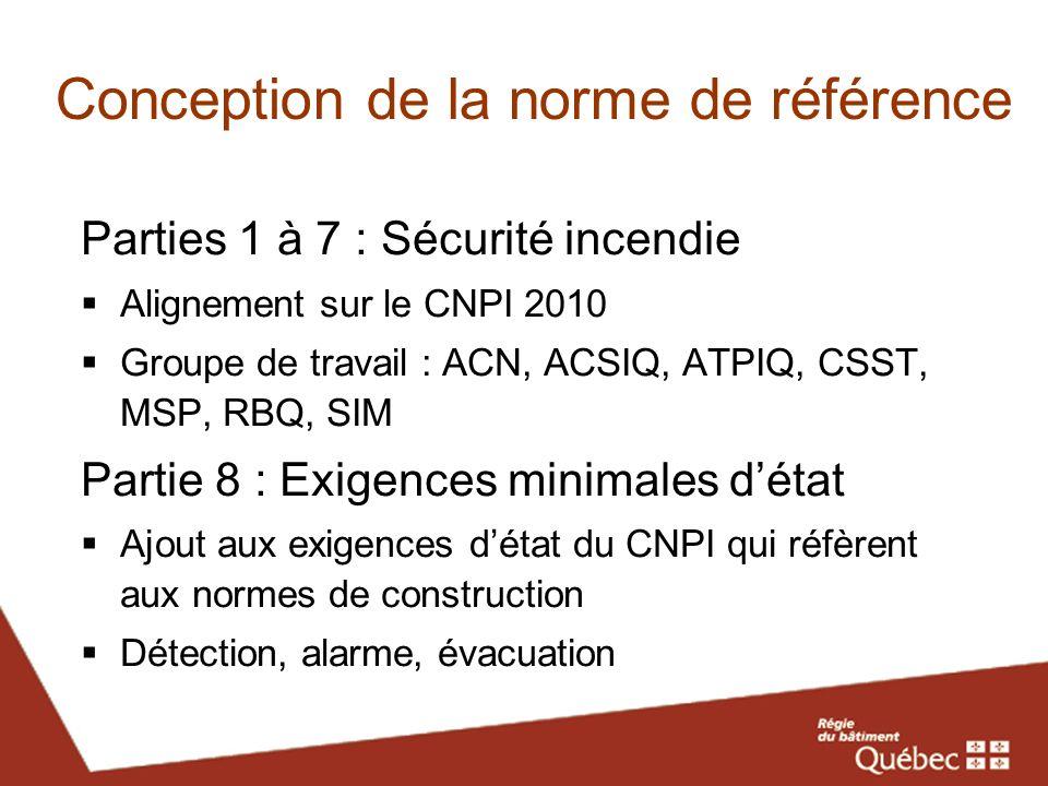 Conception de la norme de référence Parties 1 à 7 : Sécurité incendie Alignement sur le CNPI 2010 Groupe de travail : ACN, ACSIQ, ATPIQ, CSST, MSP, RB