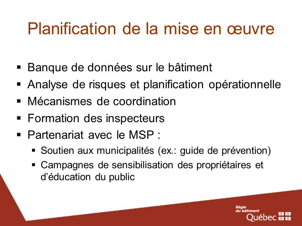 Planification de la mise en œuvre Banque de données sur le bâtiment Analyse de risques et planification opérationnelle Mécanismes de coordination Form
