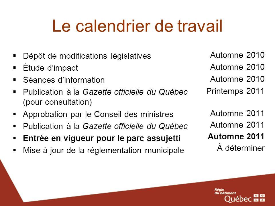 Le calendrier de travail Dépôt de modifications législatives Étude dimpact Séances dinformation Publication à la Gazette officielle du Québec (pour co