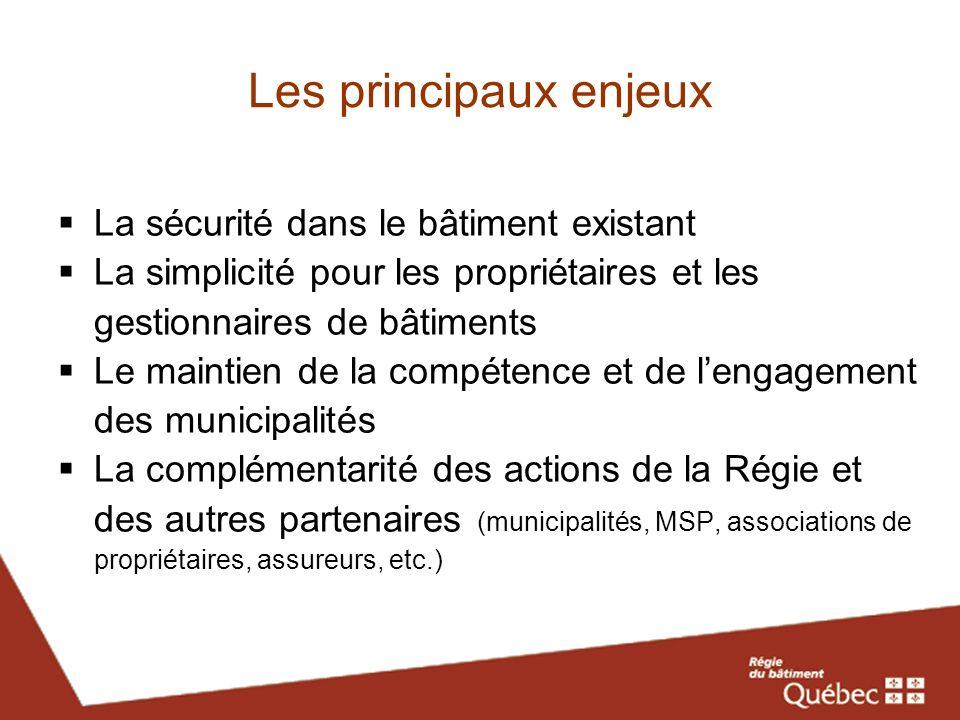 Les objectifs poursuivis Faire en sorte que toutes les autorités ayant compétence en matière de sécurité au Québec réfèrent à une seule et même norme Adopter, en tant que norme, des exigences de sécurité alignées sur la plus récente version du CNPI (2010) Intégrer dans la norme des exigences détat afin dassurer un niveau minimal de sécurité dans tout bâtiment Intégrer dans la norme des exigences relatives à des problématiques particulières ou aux aspects mis en cause dans les accidents récents Éviter un accroissement des responsabilités des municipalités par rapport aux obligations quelles assument déjà Convenir avec les municipalités de moyens similaires, communs ou complémentaires de surveillance