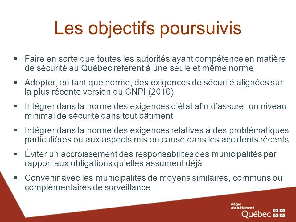 Les objectifs poursuivis Faire en sorte que toutes les autorités ayant compétence en matière de sécurité au Québec réfèrent à une seule et même norme