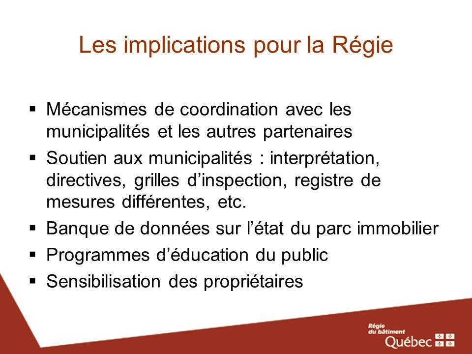 Les implications pour la Régie Mécanismes de coordination avec les municipalités et les autres partenaires Soutien aux municipalités : interprétation,